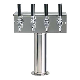 Photo of Polished Stainless Steel 3 Inch Column Four Faucet Glycol Cooled T Style  Draft Beer Tower