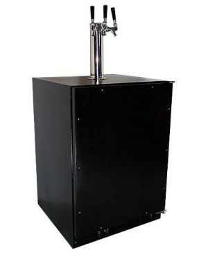 Photo of Marvel Undercounter Kegerator with X-CLUSIVE 3 Faucet Home Brew Keg Tapping Kit - Black Cabinet/Overlay Door