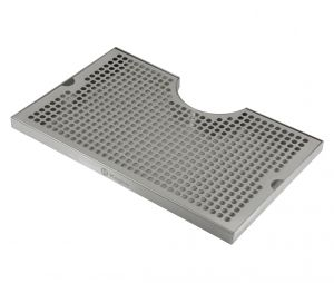 3 Photo of 16 inch x 10 inch Surface Mount Drip Tray - 3 inch Column Cut-Out - SS, No Drain