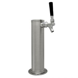 Photo of Brushed Stainless Steel Single Faucet Beer Tower - 3 inch Column - 100% Stainless Steel Contact