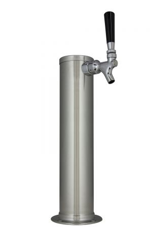 Photo of 14 inch Tall Brushed Stainless Steel 1-Faucet Draft Beer Tower - Standard Faucets