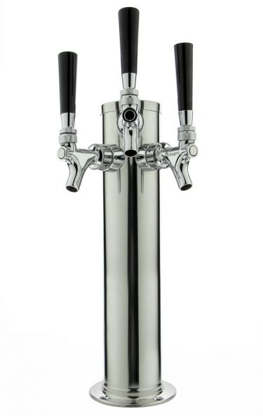 Stainless Steel Towers : Polished stainless steel triple faucet draft tower