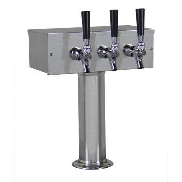 3 Faucet Brushed Stainless Tower