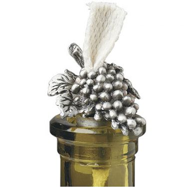 pewter grape bttle candle 42-126