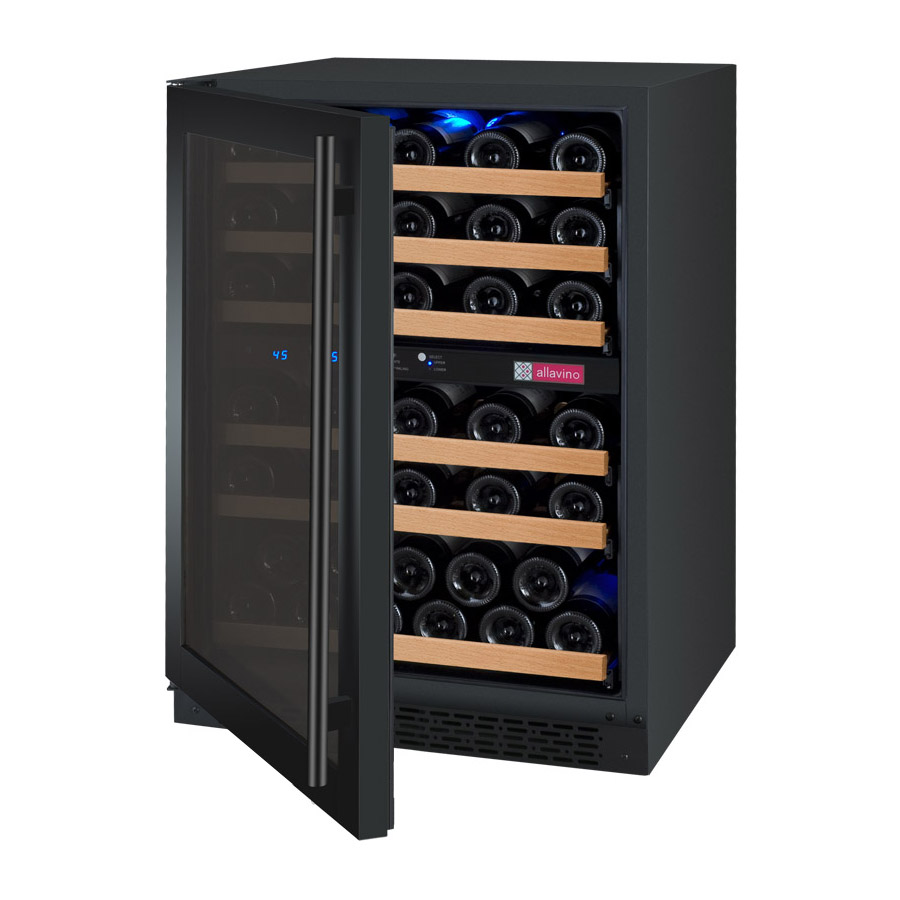 Allavino wine cellar two zone vswr56 2bwln flexcount series 56 bottle black door with left hinge - Cellar door hinges ...