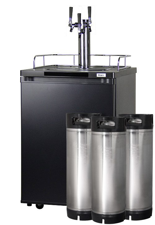 Kegco HBK209B-3 Triple Tap Kegerators - Matte Black Keg Beer Coolers on