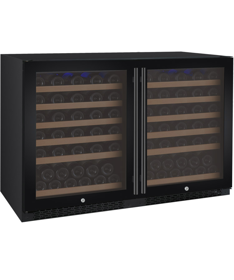 Allavino Wine Coolers Dual Zone 2x Vswr56 1bwt Flexcount Series 112 Bottle Side By Side Black Doors Beveragefactory Com