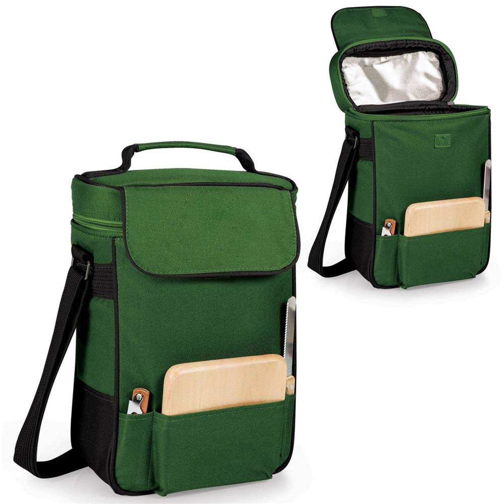 Duet Insulated Wine Cheese Tote Hunter Green W Black Trim