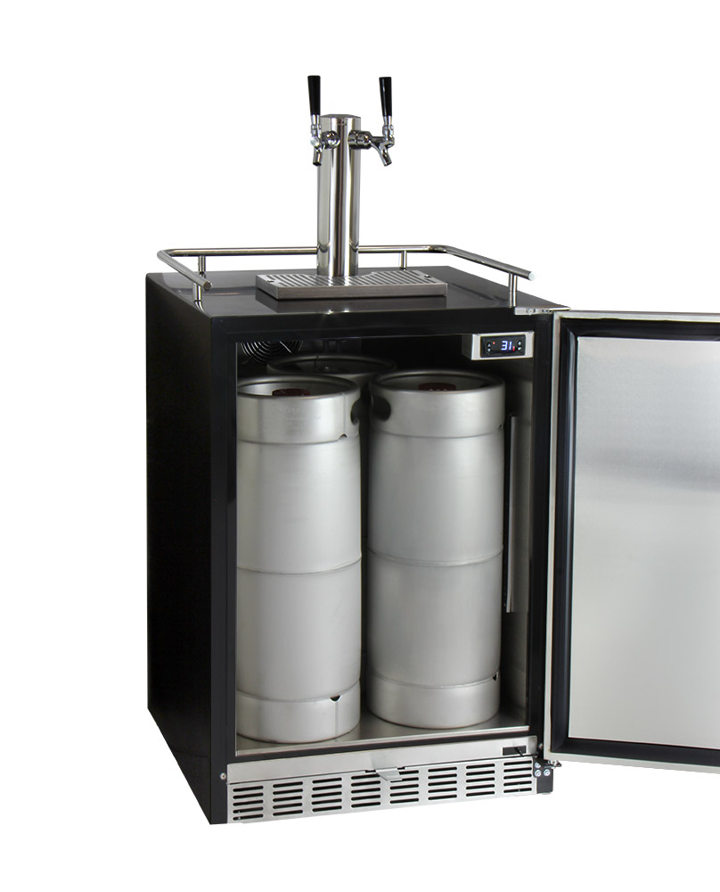Kegco HK38BSU-2 Two Tap Digital Under-Counter Keg Beer Dispenser ...