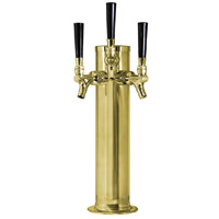Polished Brass Triple Tap Faucet Draft Beer Kegerator Tower