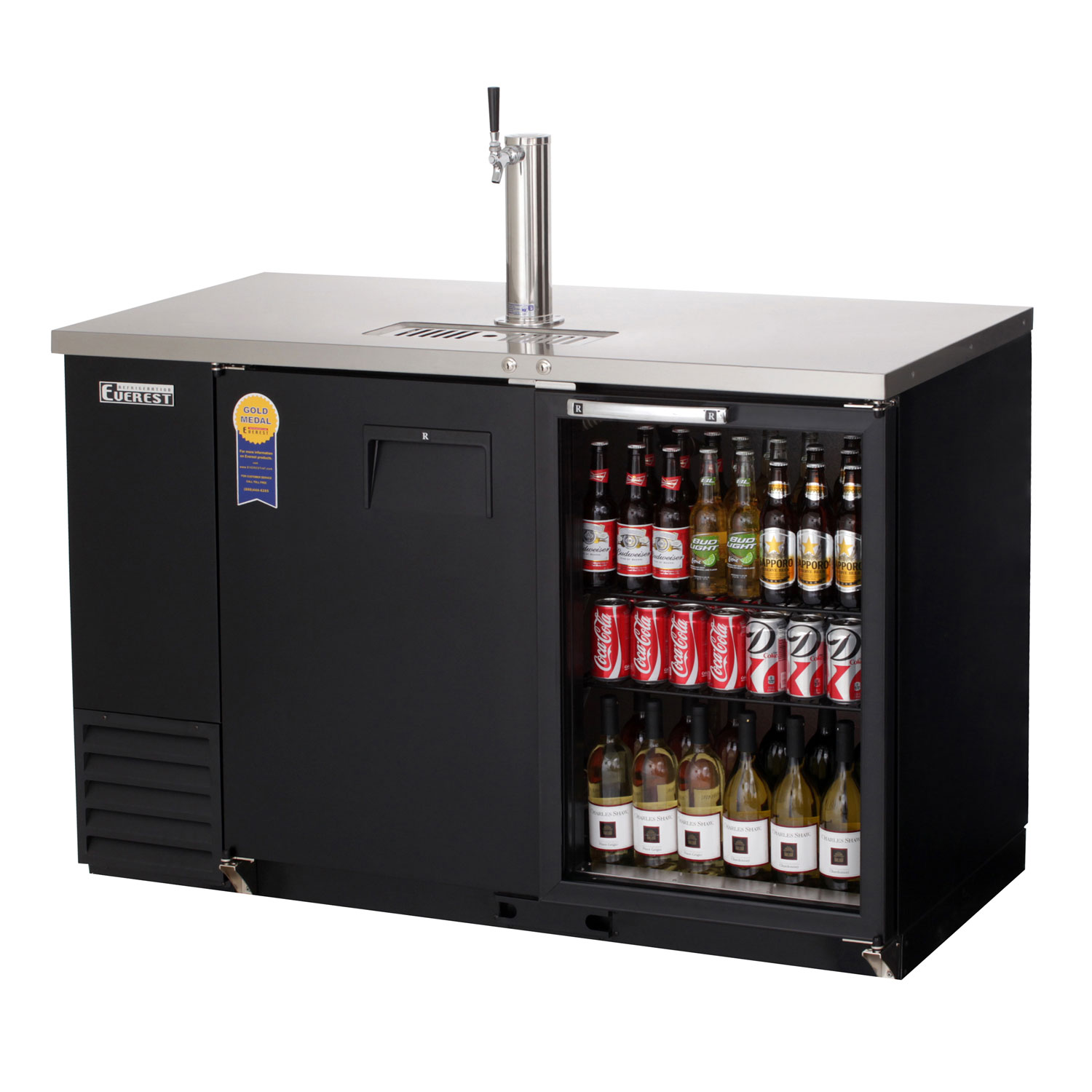57 75 Wide Back Bar Direct Draw Commercial Keg Refrigerator With Solid Glass Doors 24 Deep