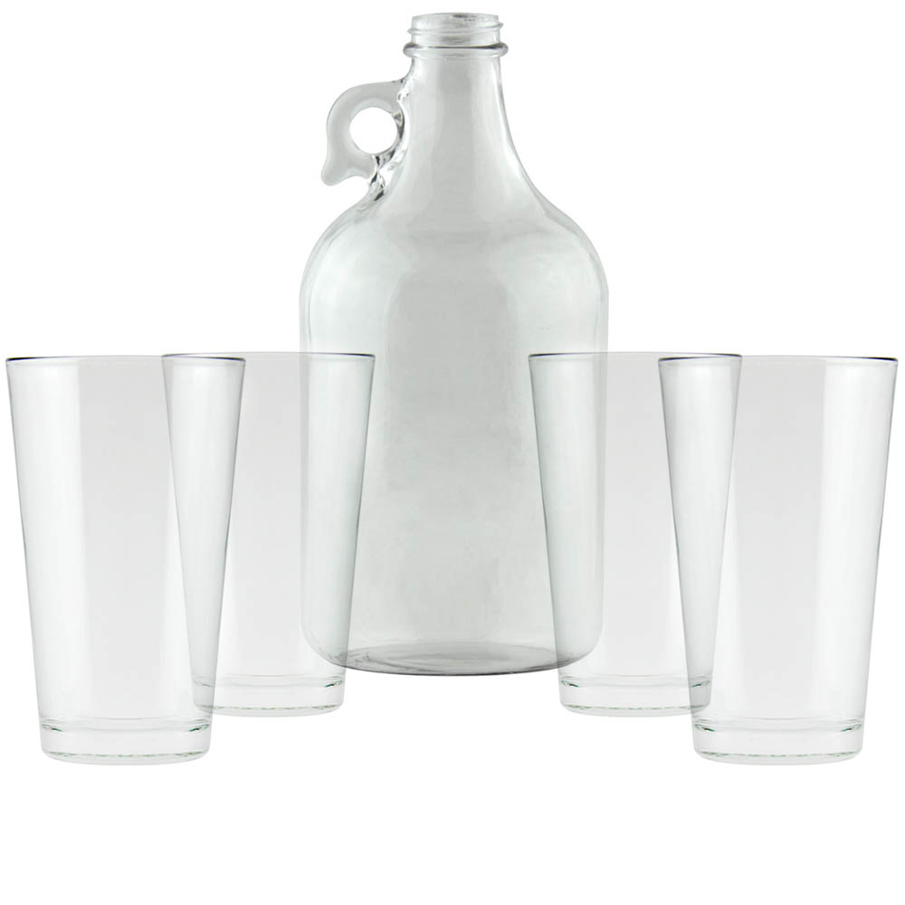 clear growler pint glasses - 16 Oz Glass