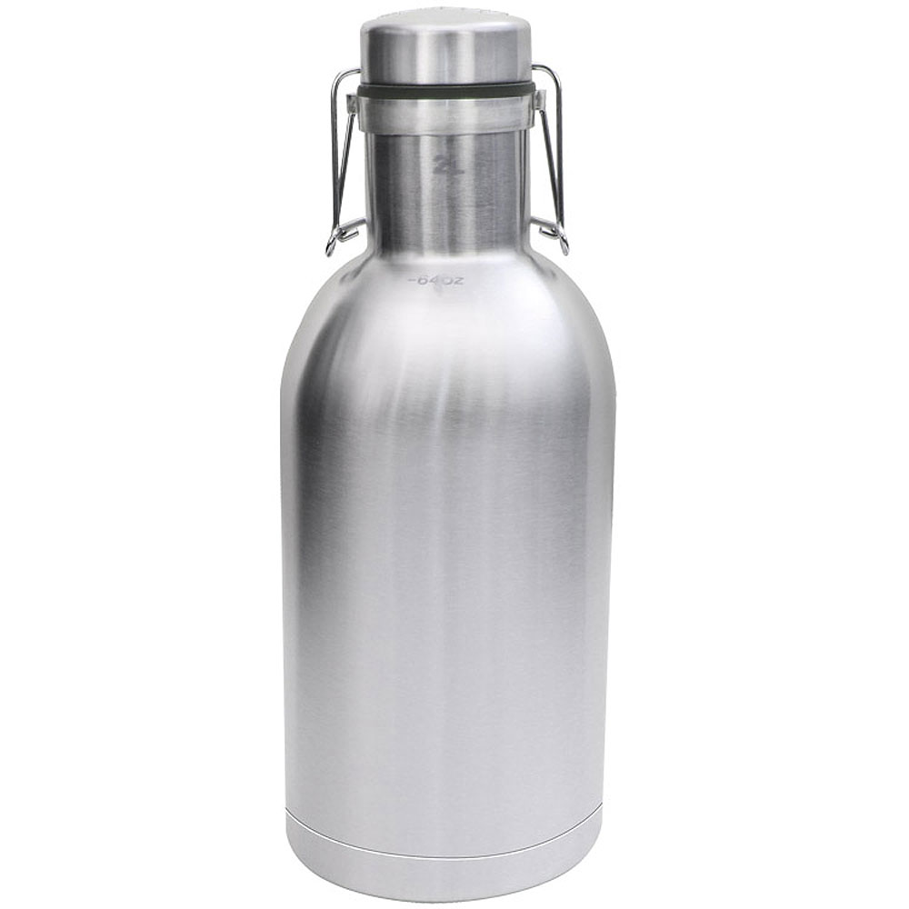The Grizzly Black 64 oz Double Wall Stainless Steel Flip Top Beer Growler
