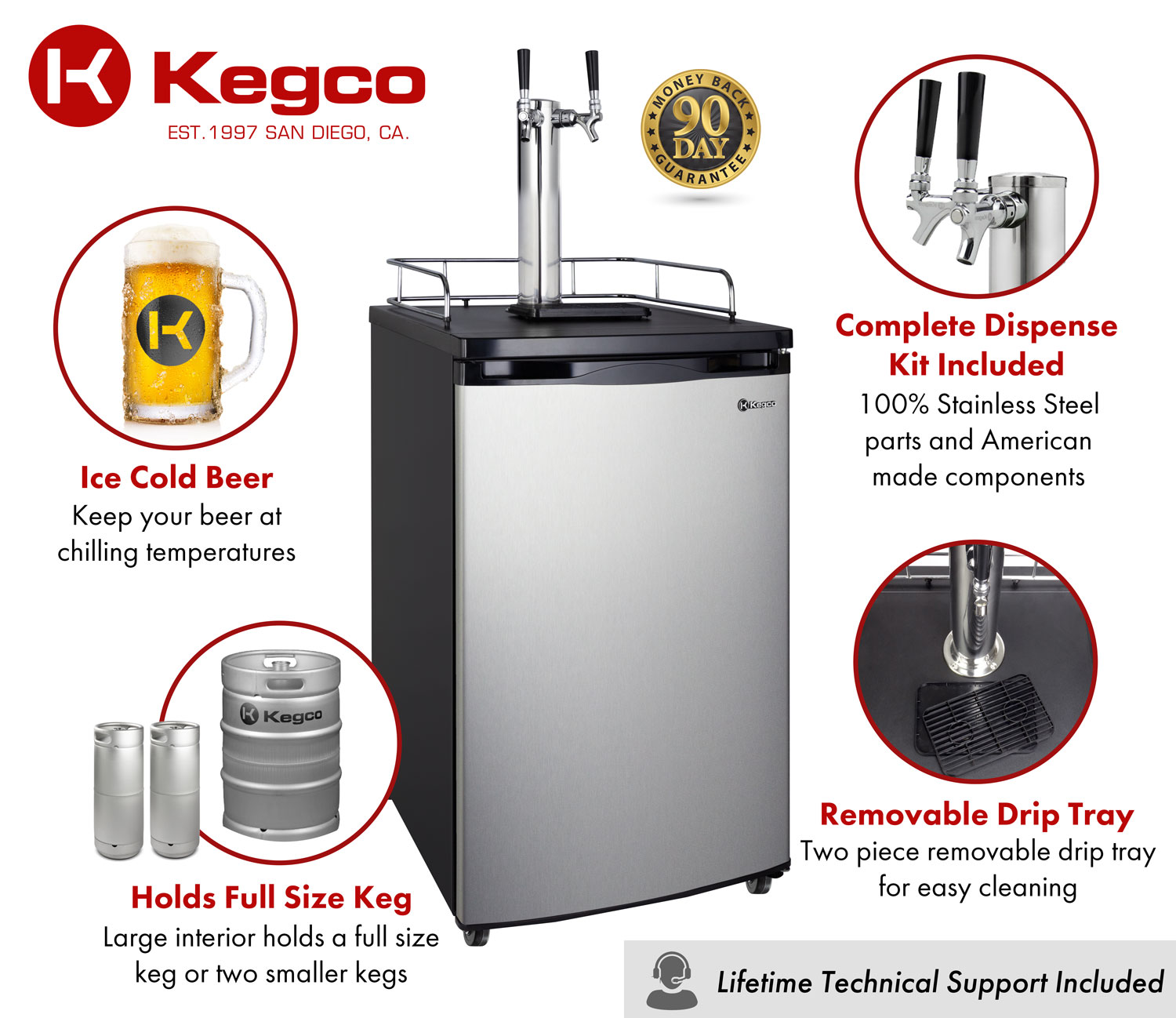 All stainless contact single tap dispense system includes tower, regulator, keg coupler, and CO2 tank