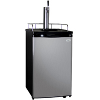 Full Size Kegerator with Black Cabinet and Stainless Steel Door