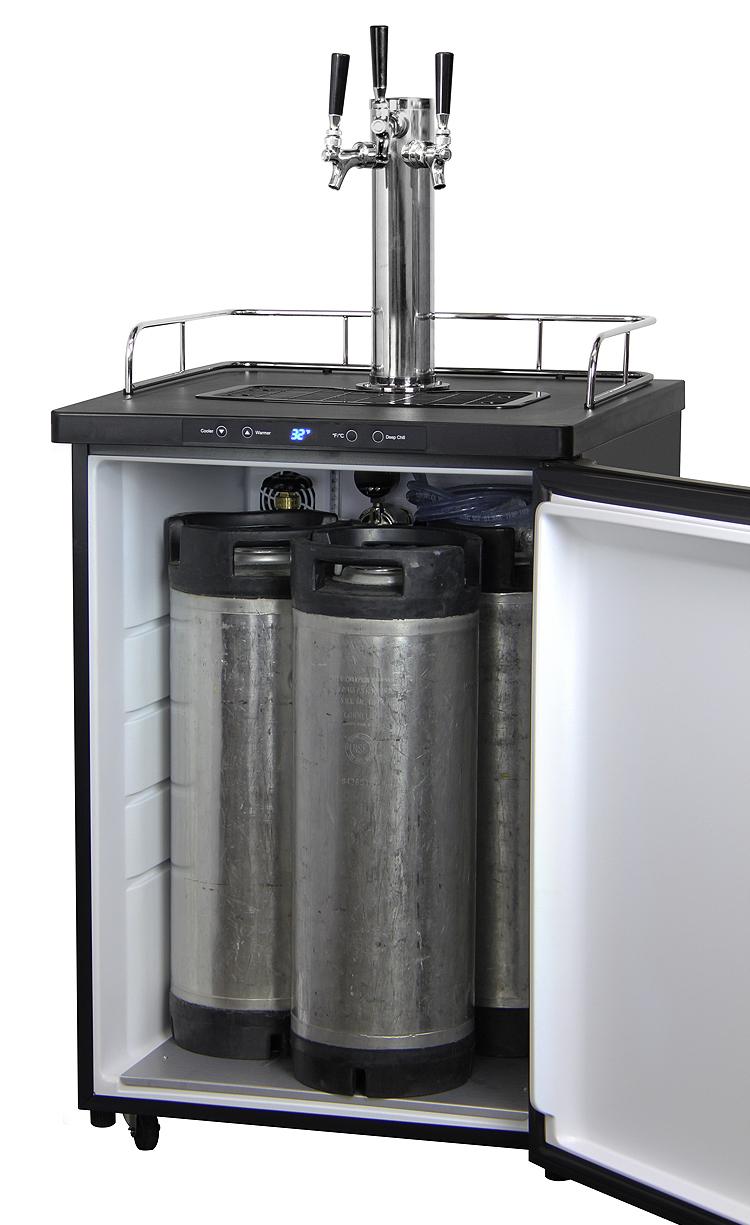 Kegco K309SS-3 Triple-Tap Keg Beer Dispensers - Black Beer Keg ...