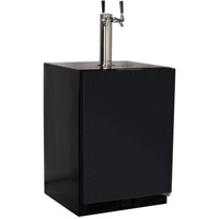 Kegerator with X-CLUSIVE 2 Faucet D System Keg Tapping Kit - Black Cabinet with Overlay Door