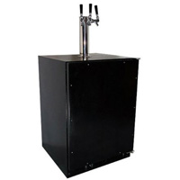 Kegerator Cabinet with X-CLUSIVE 3 Faucet Home Brew Keg Tapping Kit - Black Cabinet/Overlay Door