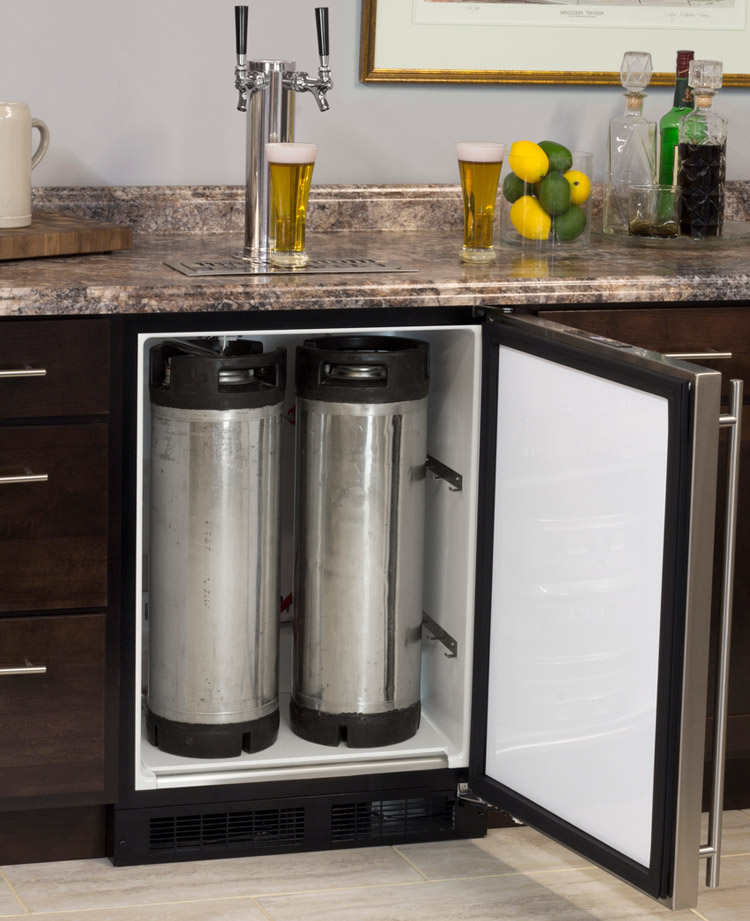 34 Awesome Basement Bar Ideas And How To Make It With Low: Marvel ML24BNS1RS-X2D Kegerator Undercounter With X