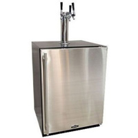 Kegerator Cabinet with X-CLUSIVE 3 Faucet Home Brew Keg Tapping Kit - Black/Stainless Steel