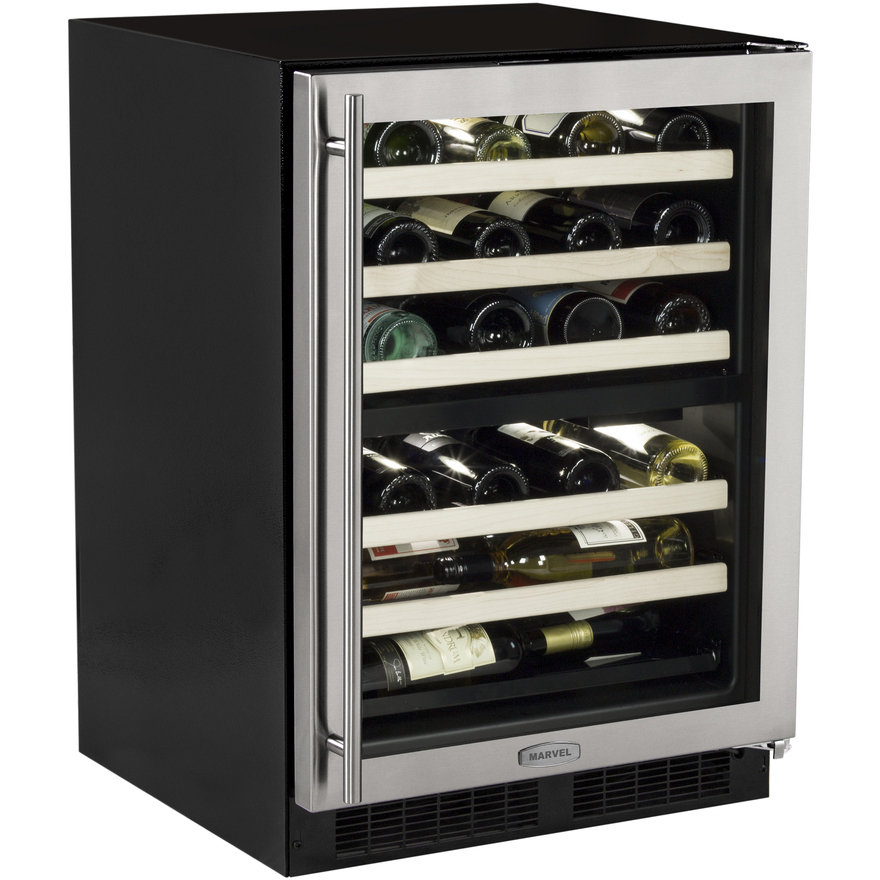 marvel ml24wdg2rs 44 bottle dual zone wine refrigerator black rh beveragefactory com Wine and Beverage Refrigerator Wine Rack above Refrigerator