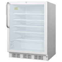 5.5 cf Glass Door All Refrigerator - White Stainless Steel