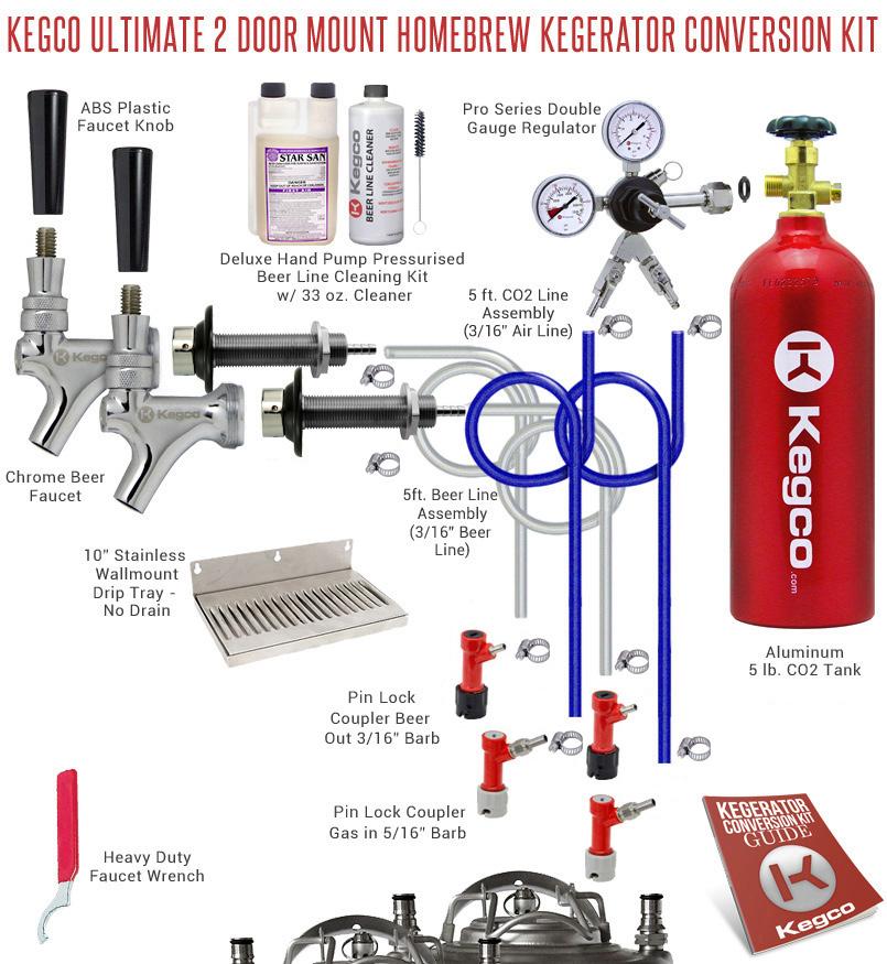 Kegco Kegerator Home Brew 2 Keg Tap Draft Beer Conversion Kit Pin ...