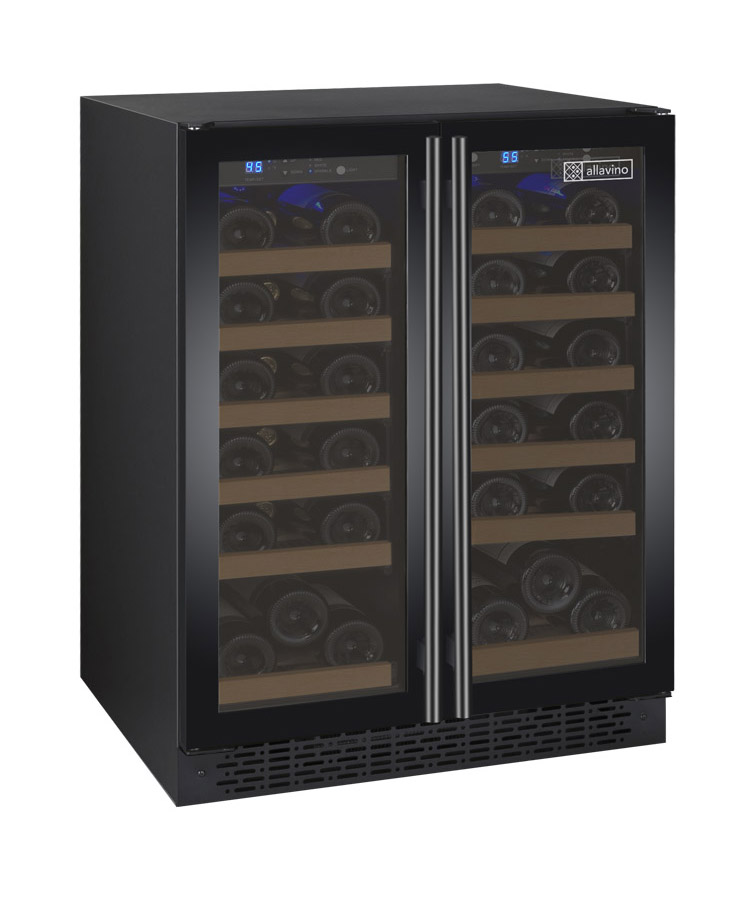 Allavino Wine Refrigerator Two Zone Vswr36 2bf20 Flexcount Ii Tru Vino 36 Bottle Black 2 Door Beveragefactory Com