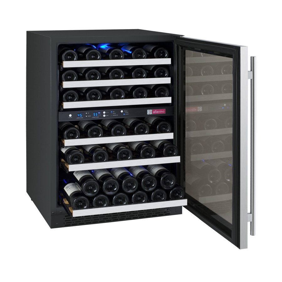 Allavino Vswr56 2ssrn Flexcount Series 56 Bottle Two Zone Wine Refrigerator With Right Hinge Beveragefactory Com