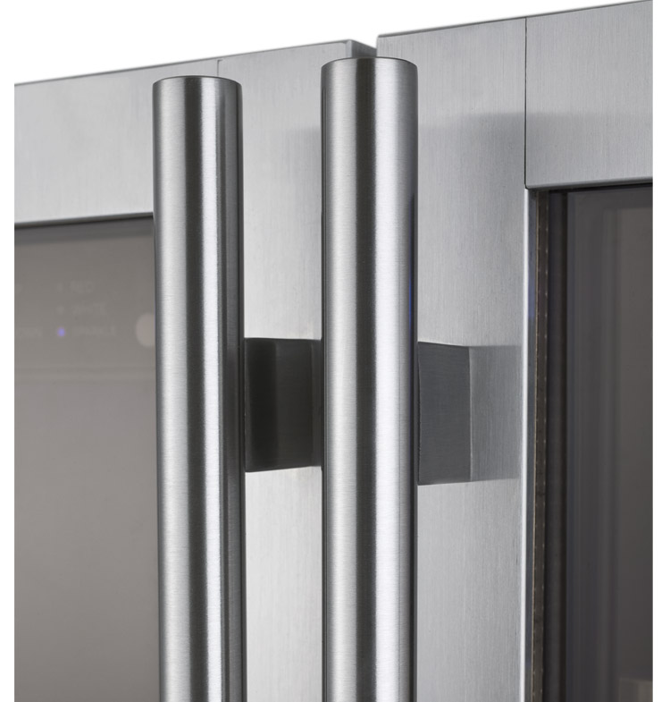Stainless Steel Towel Bar Handle & FlexCount 2 Door Wine Refrigerator/Beverage Center - Stainless Steel Doors