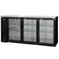 Commercial Back Bar Cooler with Three Glass Doors