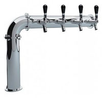 Open Box - Right PS190-4 Stainless Steel Persey 4 Faucet Elbow Style Draft Beer Tower - 3.3 Inch Column - Glycol Cooled
