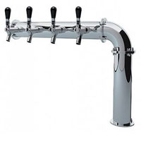 Open Box - Left PS190-4 Stainless Steel Persey 4 Faucet Elbow Style Draft Beer Tower - 3.3 Inch Column - Glycol Cooled