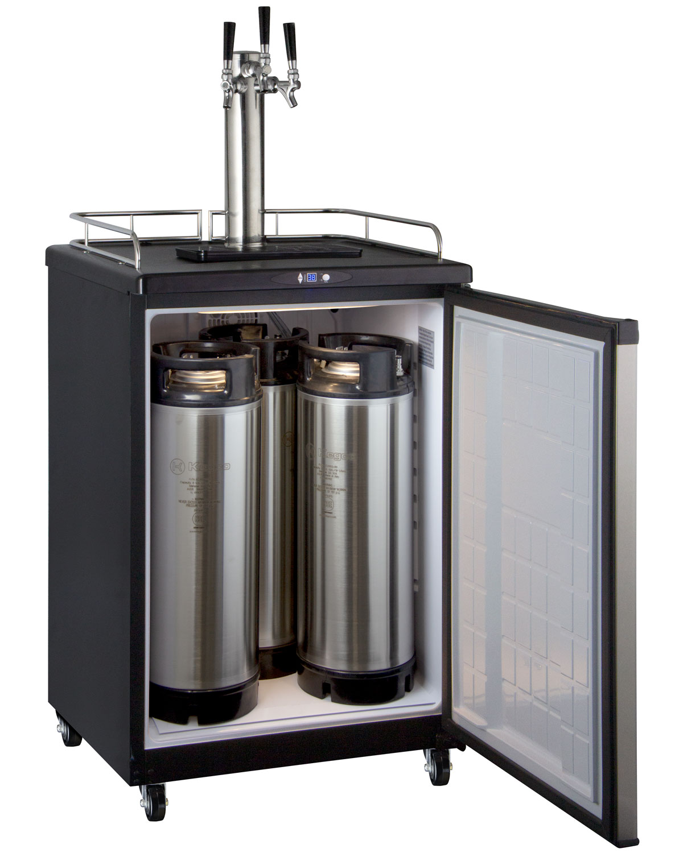 Triple faucet keg configuration for kegerators