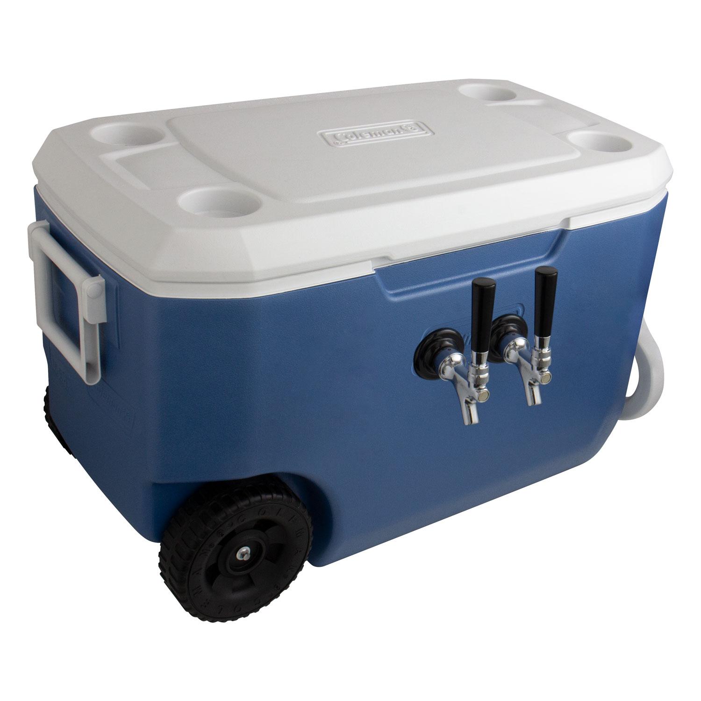 Kegco Double Faucet Rolling Jockey Box - 60 Qt., Two 3/8\