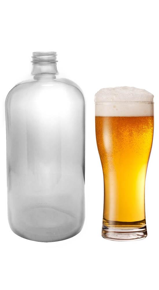 1440 Customizable 32 oz Clear Glass Boston Round Growler