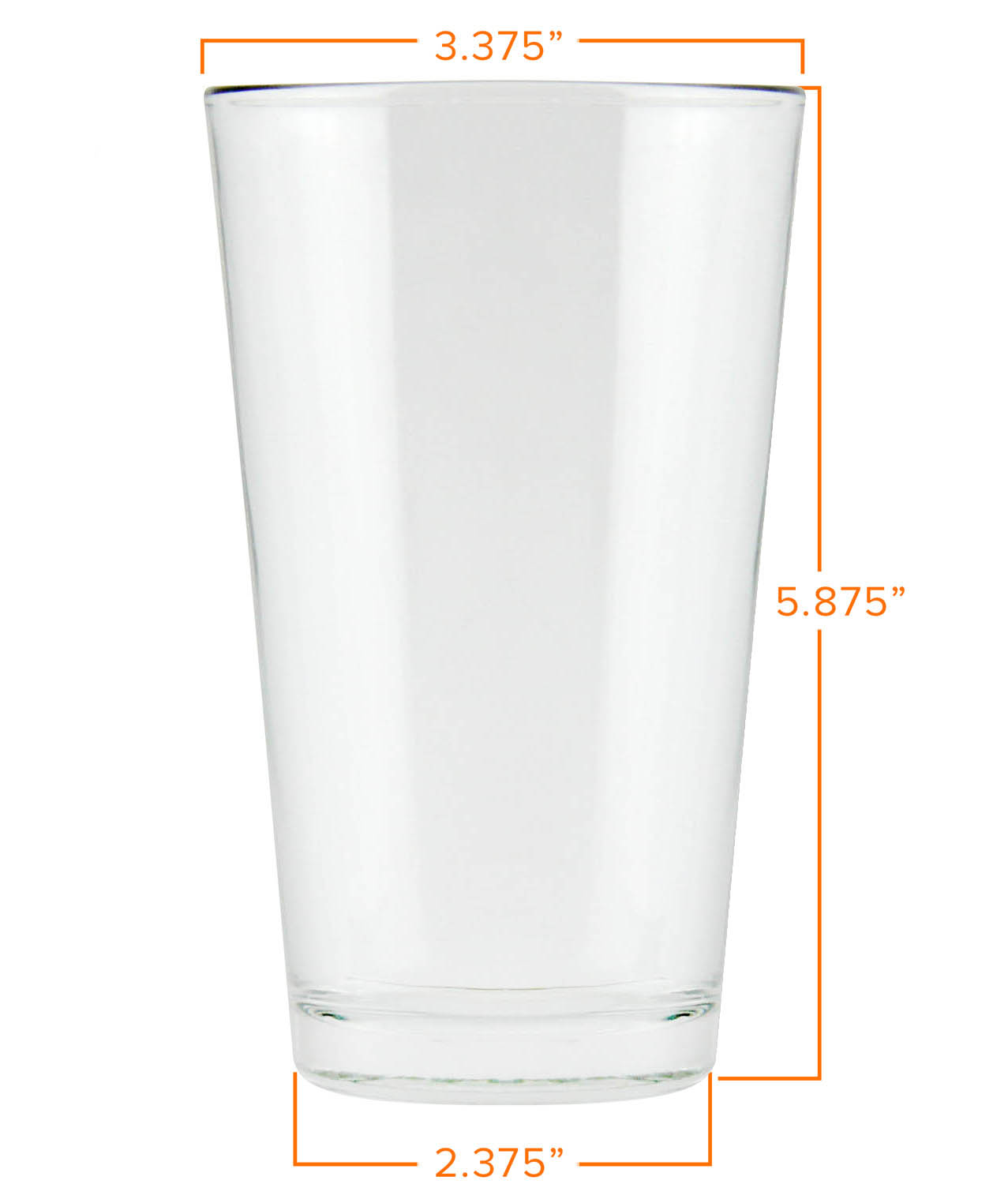 pint glass dimensions - 16 Oz Glass