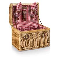 Chardonnay Willow Picnic Basket - Red Check Lining & Napkins