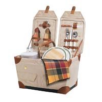 Pioneer Canvas & Rattan Picnic Basket - Natural w/ Burgundy Plaid Linens