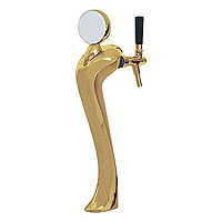 Gold Plated Metal Single Faucet 3-Inch Diameter Column Beer Tower