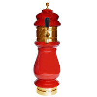 Silva Ceramic Single Faucet Draft Beer Towers - Red with Gold Accents