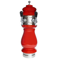 Silva Ceramic Double Faucet Draft Beer Tower - Red with Chrome Accents