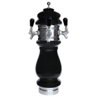Silva Ceramic Triple Faucet Draft Beer Tower - Black with Chrome Accents
