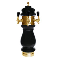Silva Ceramic Triple Faucet Draft Beer Tower - Black with Gold Accents