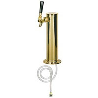 Polished PVD Brass 1-Faucet Beer Tower with 3-Inch Diameter Column