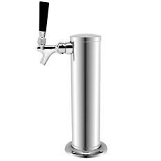 Chrome Plated Metal Single Faucet 3-Inch Diameter Column Beer Tower
