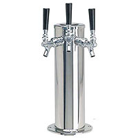 Polished Stainless Steel Glycol Cooled Triple Faucet Draft Beer Tower - 4 Inch Column
