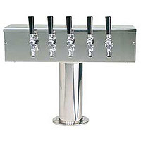 Stainless Steel Five Faucet T-Style Draft Tower - 4 Inch Column