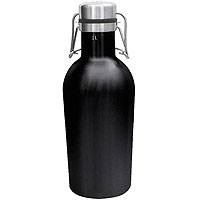 Beer Growler - 32 oz Double Wall Stainless Steel with Black Finish Flip Top