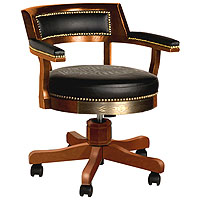 Bar & Shield Flames Poker Chair - Heritage Brown/Brass Accents